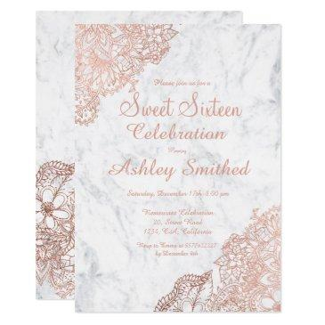 marble rose gold floral sweet 16 invitations