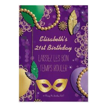 Small Mardi Gras Mask Birthday Invitations Back View