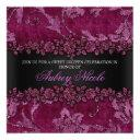 maroon faux glitter & velvet floral sweet sixteen invitation