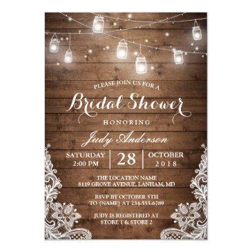 mason jars lights rustic wood lace bridal shower