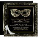 masquerade ball high heels black gold sweet 16 invitation
