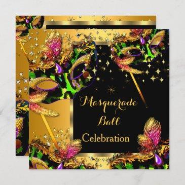 masquerade ball masked party gold celebration invitation