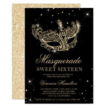 masquerade black gold glitter mask sweet 16 invitation