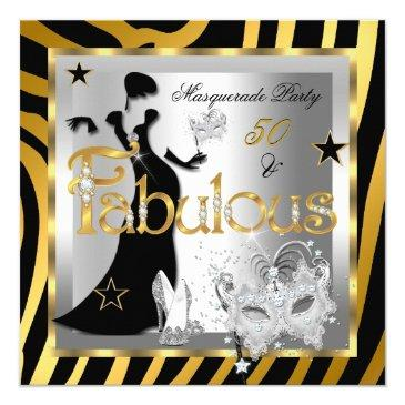 masquerade fabulous 50 zebra gold silver black invitation