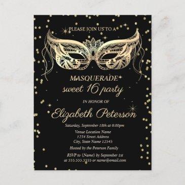 masquerade gold diamonds sweet 16 invitation postinvitations