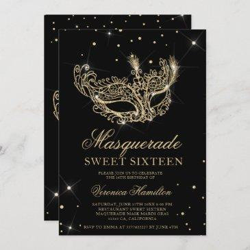 masquerade mask black gold glitter sweet 16 invitation