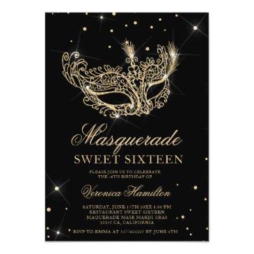 Small Masquerade Mask Black Gold Glitter Sweet 16 Invitation Front View