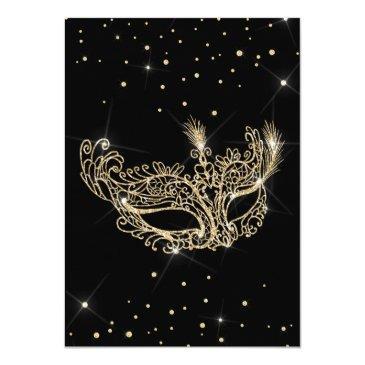 Small Masquerade Mask Black Gold Glitter Sweet 16 Invitation Back View