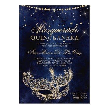 Small Masquerade Mask Chic Gold Glitter Quinceanera Invitation Front View