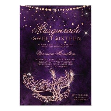 Small Masquerade Mask Purple Rose Gold Glitter Sweet 16 Invitation Front View