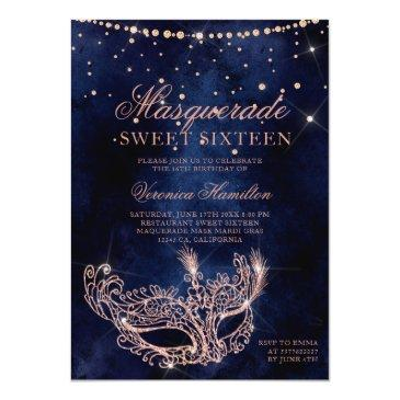 Small Masquerade Mask Rose Gold Glitter Sparkle Sweet 16 Invitation Front View