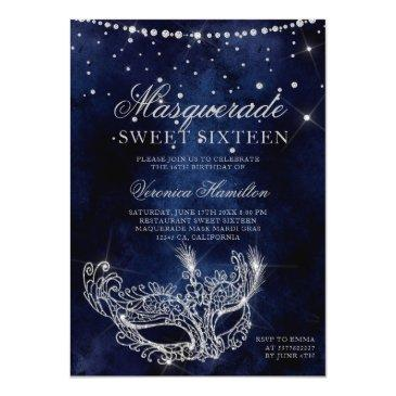 Small Masquerade Mask Silver Glitter Sparkles Sweet 16 Invitation Front View