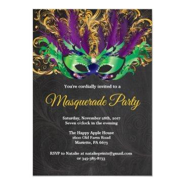 Small Masquerade Party Magical Night Green Purple Gold Invitation Front View