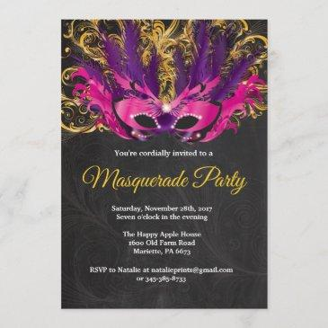 masquerade party magical night pink purple gold invitation