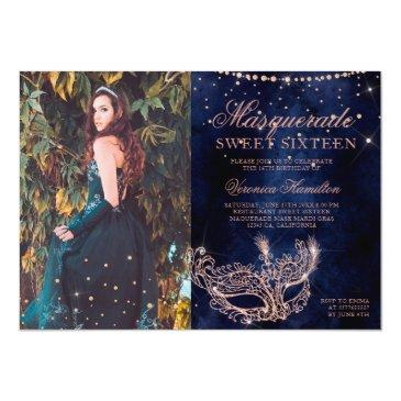 Small Masquerade Rose Gold Glitter Sweet 16 Photo Invitation Front View