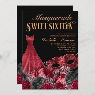 masquerade sweet 16 black red gold 16th birthday invitation