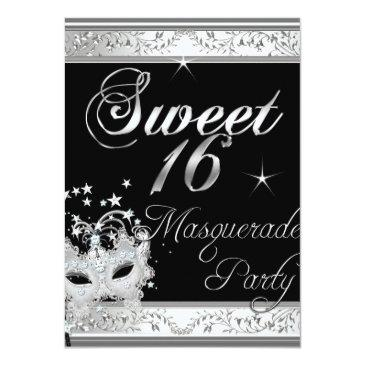 Small Masquerade Sweet 16 Sixteen Birthday Black White Front View