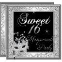 masquerade sweet 16 sixteen birthday black white invitation