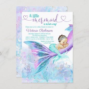 mermaid baby girl baby shower invitation