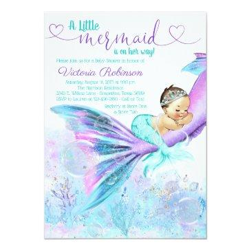 Small Mermaid Baby Girl Baby Shower Invitation Front View