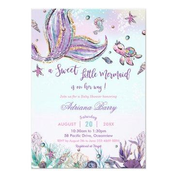 Small Mermaid Baby Shower Under The Sea Baby Girl Invitation Front View