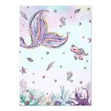 Small Mermaid Baby Shower Under The Sea Creatures Girl Invitation Back View