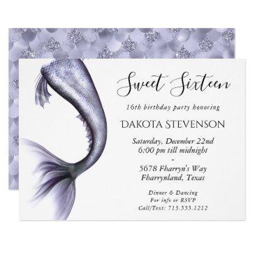 mermaid chic sweet sixteen | lavender purple party invitation