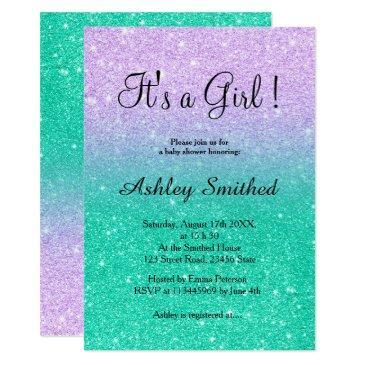 mermaid glitter turquoise ombre girl baby shower invitation