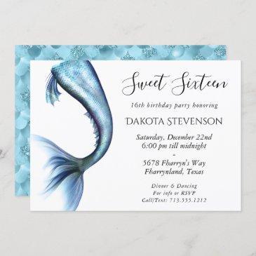 mermaid glitz sweet 16 | turquoise princess blue invitation