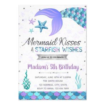 mermaid kiss birthday invitation