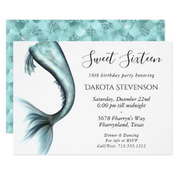 mermaid luxe sweet sixteen   tiffany blue birthday invitation