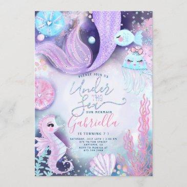 mermaid under the sea animals birthday invitation