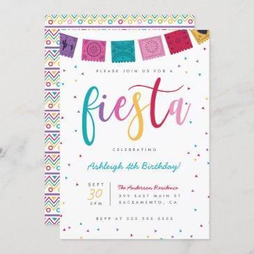 mexican colorful script fiesta kids' birthday invitation