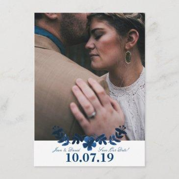 mexican otomi save the date invitations - navy