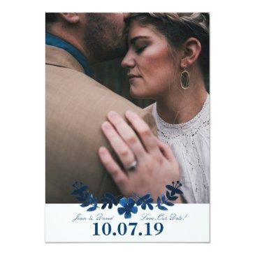 Small Mexican Otomi Save The Date Invitations - Navy Front View
