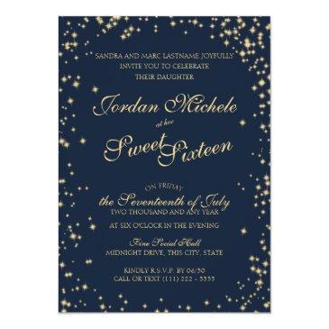 midnight stars twinkle sky sweet sixteen birthday invitation
