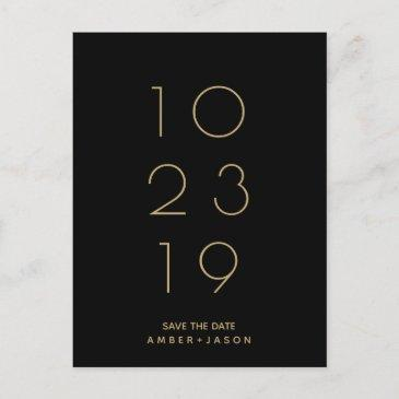 minimal black and gold modern save the date announcement postinvitations