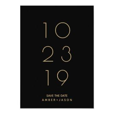 Small Minimal Black And Gold Modern Save The Date Announcement Postinvitations Front View