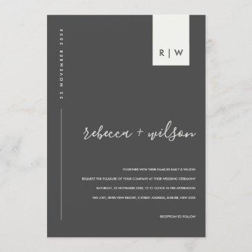 minimal modern black and white typography wedding invitation
