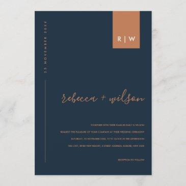 minimal modern navy blue rust typography wedding invitation