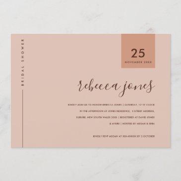 minimal rust pink peach typography bridal shower invitation