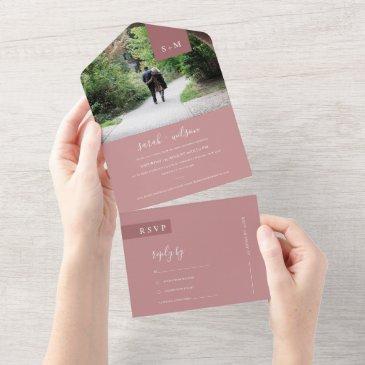 minimal scandi dusky blush rose pink wedding photo all in one invitation