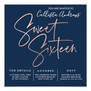 Small Minimalist Navy Blue Rose Gold Typography Sweet 16 Invitation Front View
