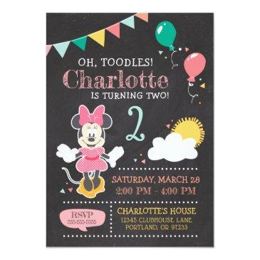Small Minnie Mouse Birthday Chalkboard Invitation Front View