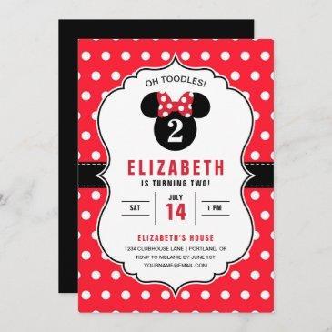 minnie mouse   red & white polka dot birthday invitation