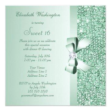 Small Mint Green Sequins, Bow & Diamond Sweet 16 Invitations Back View