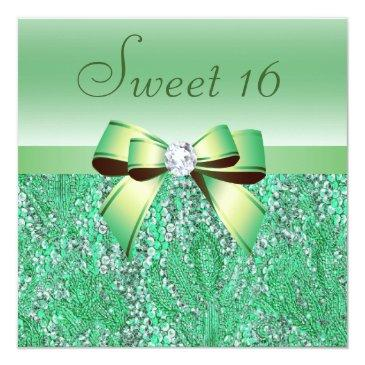 Small Mint Green Sequins, Bow & Diamond Sweet 16 Invitations Front View