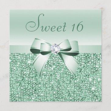 mint green sequins, bow & diamond sweet 16 invitation