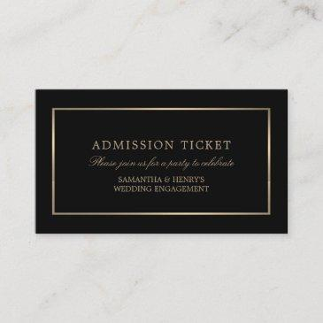 modern and sleek, black and gold, admission ticket enclosure invitations
