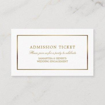modern and sleek, white and gold, admission ticket enclosure invitations